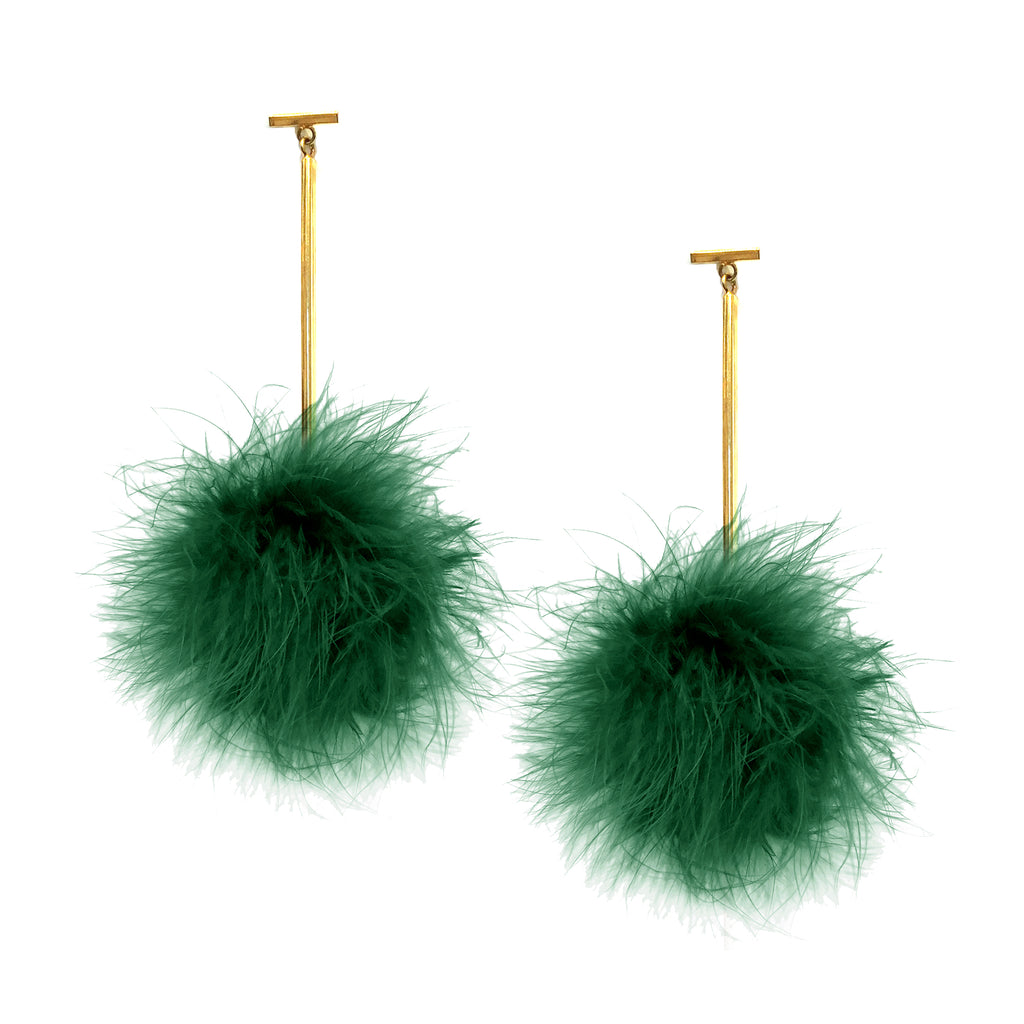 Jelly Bean Green Marabou Pom Pom T Bar Earrings, Earrings, Tuleste, Tuleste