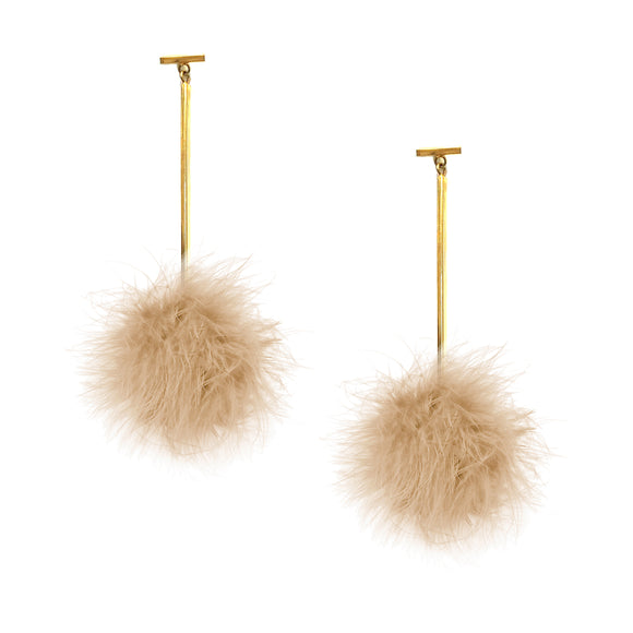 Nude Marabou Pom Pom T Bar Earrings, Earring, Tuleste, Tuleste