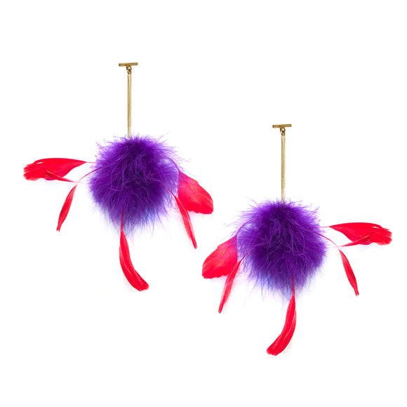 Purple/Red Marabou Coque Pom Pom T Bar Earrings, Earrings, Tuleste, Tuleste