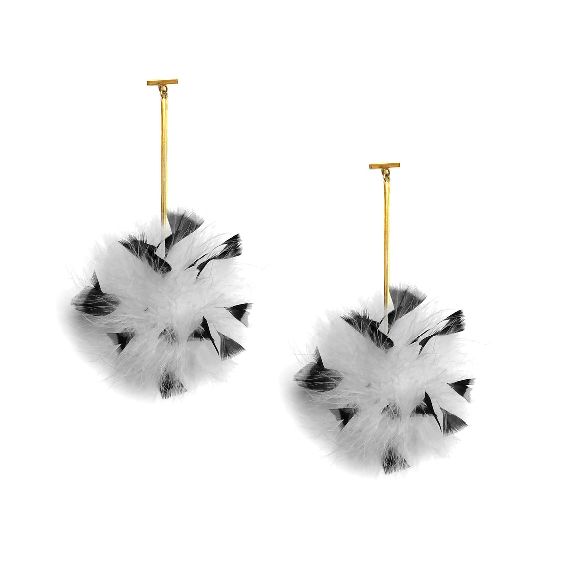 White/Black Marabou Coque Pom Pom T Bar Earrings, earring, Tuleste, Tuleste