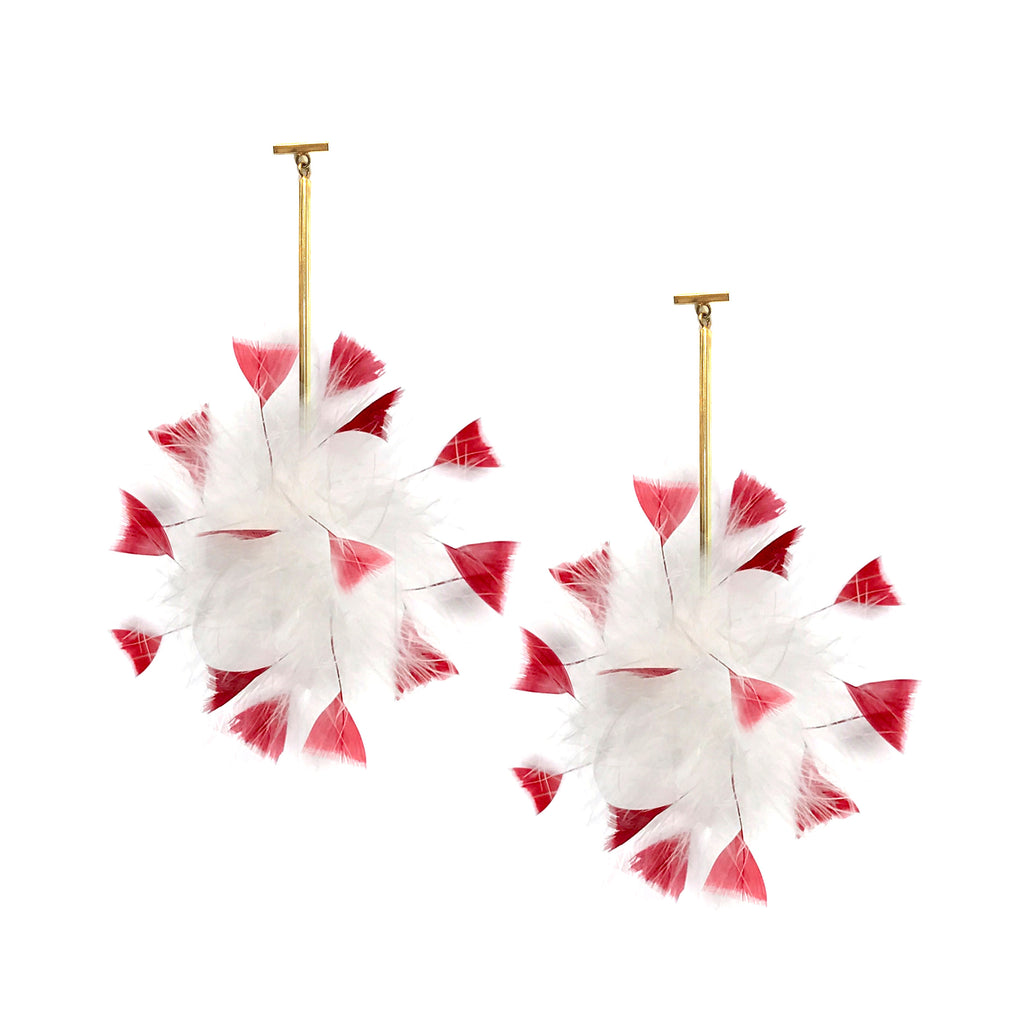 White/Red Marabou Coque Pom Pom T Bar Earrings, earring, Tuleste, Tuleste