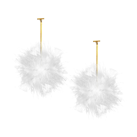 White/White Marabou Coque Pom Pom T Bar Earrings, earring, Tuleste, Tuleste