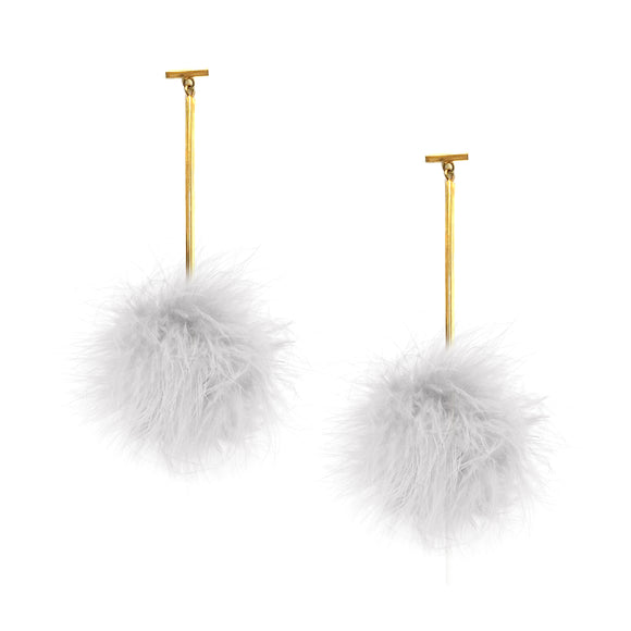 White Marabou Pom Pom T Bar Earrings, earring, Tuleste, Tuleste