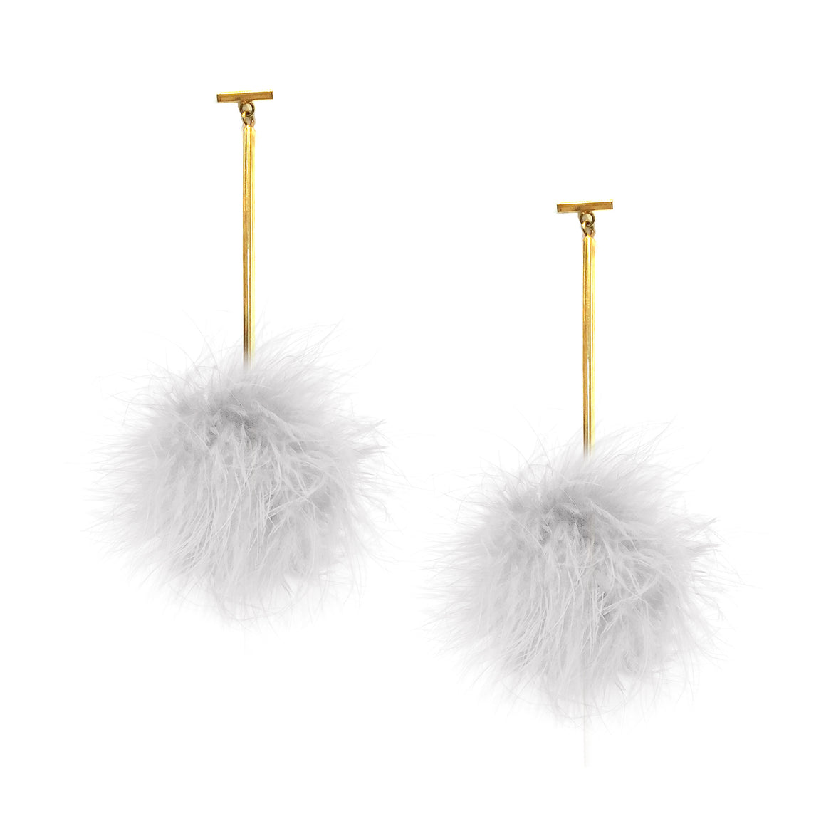 White Marabou Pom Pom T Bar Earrings