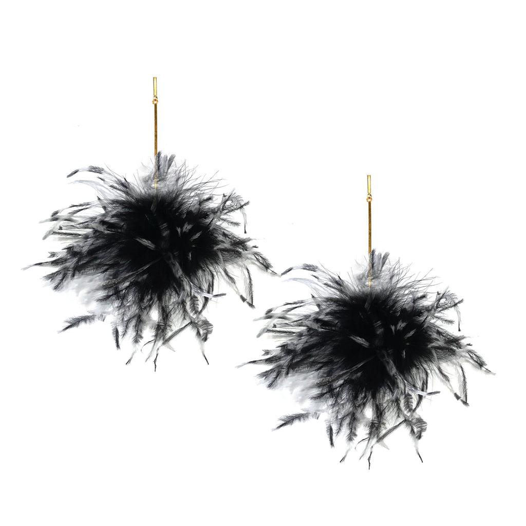 Black and White Ostrich Pom Pom Earring