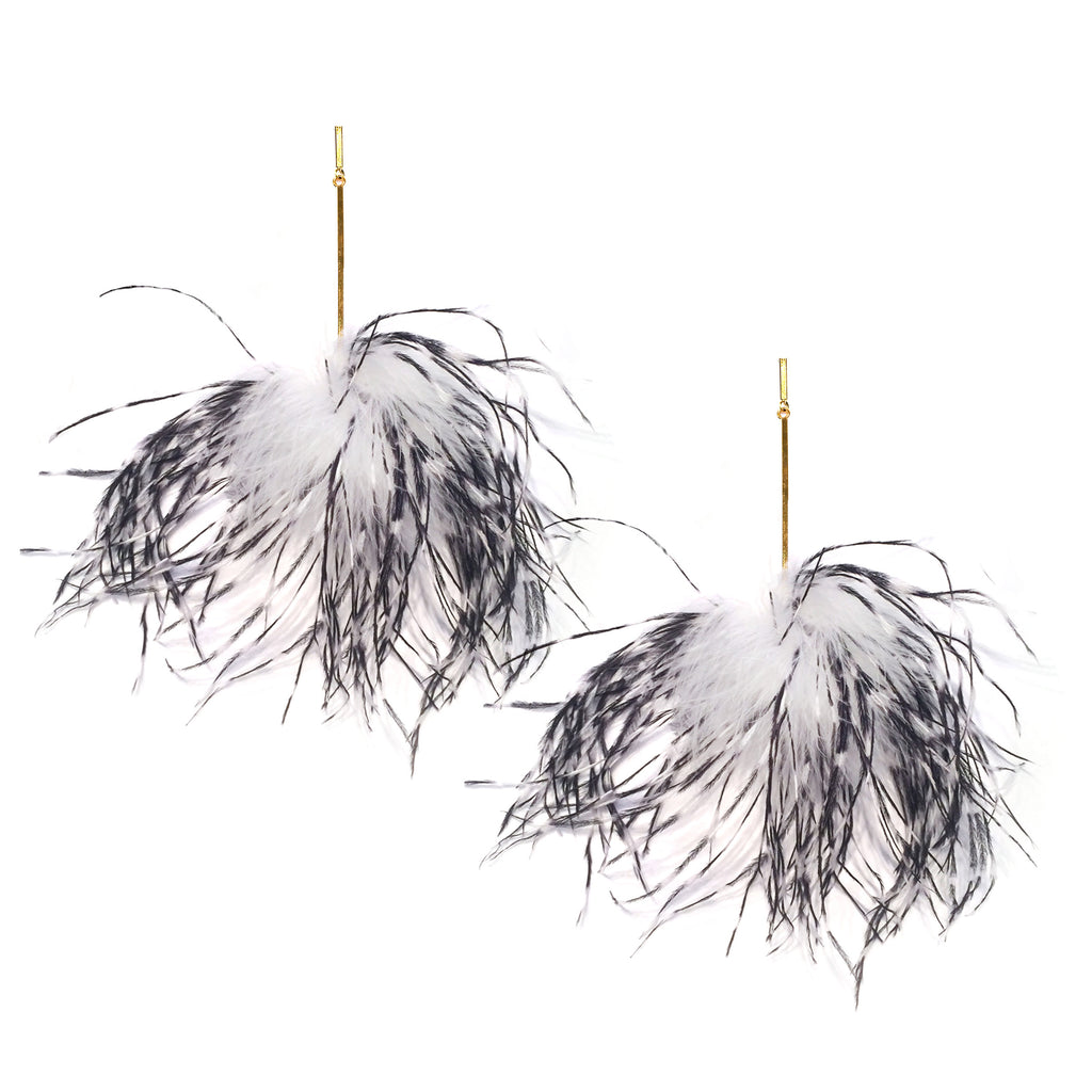 White and Black Ostrich Pom Pom Earring