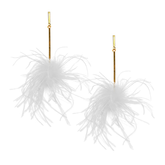 White Ostrich Pom Pom Earrings