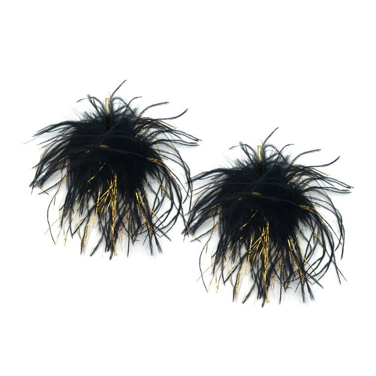 Black with Gold Lurex Ostrich Pom Pom Stud Earrings