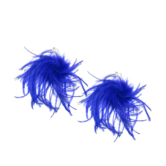 Blue Ostrich Pom Pom Stud Earrings, Earrings, Tuleste, Tuleste