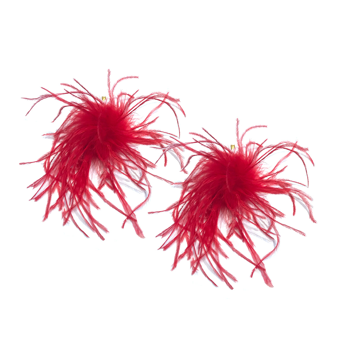 Red Ostrich Pom Pom Stud Earrings, Earrings, Tuleste, Tuleste