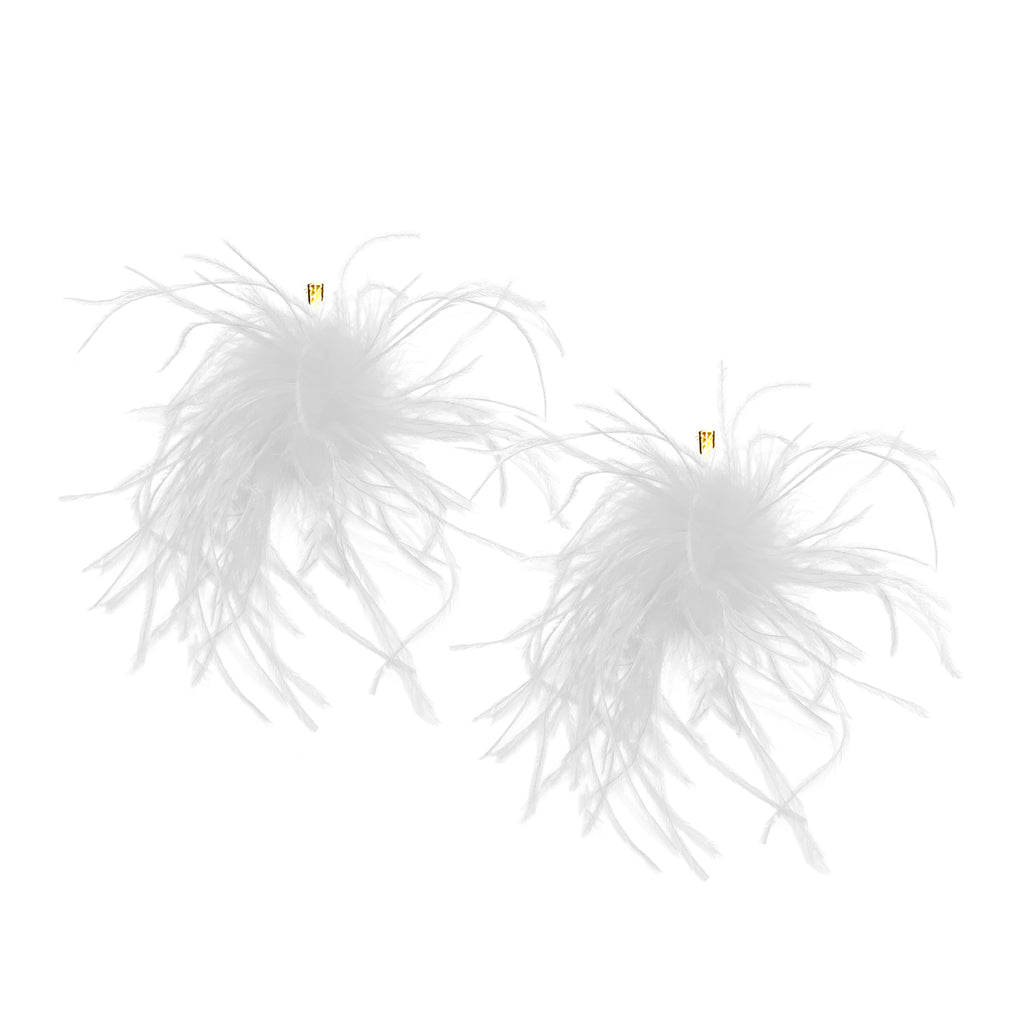 White Ostrich Pom Pom Stud Earrings
