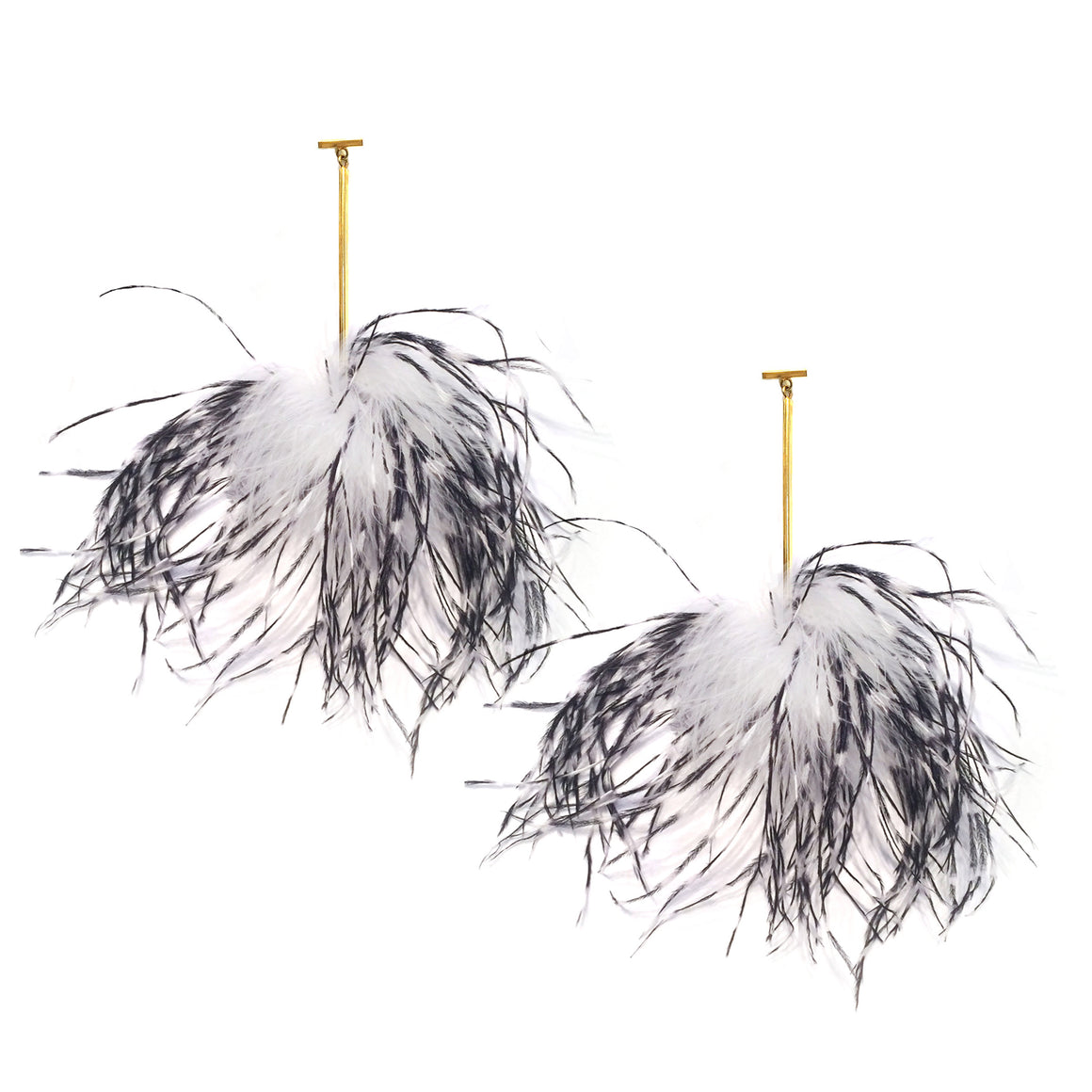 White and Black Ostrich Pom Pom T Bar Earring