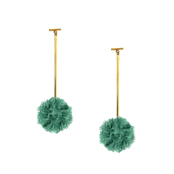 "Green 1"" Lace Pom Pom T Bar Earrings, earring, Tuleste, Tuleste"