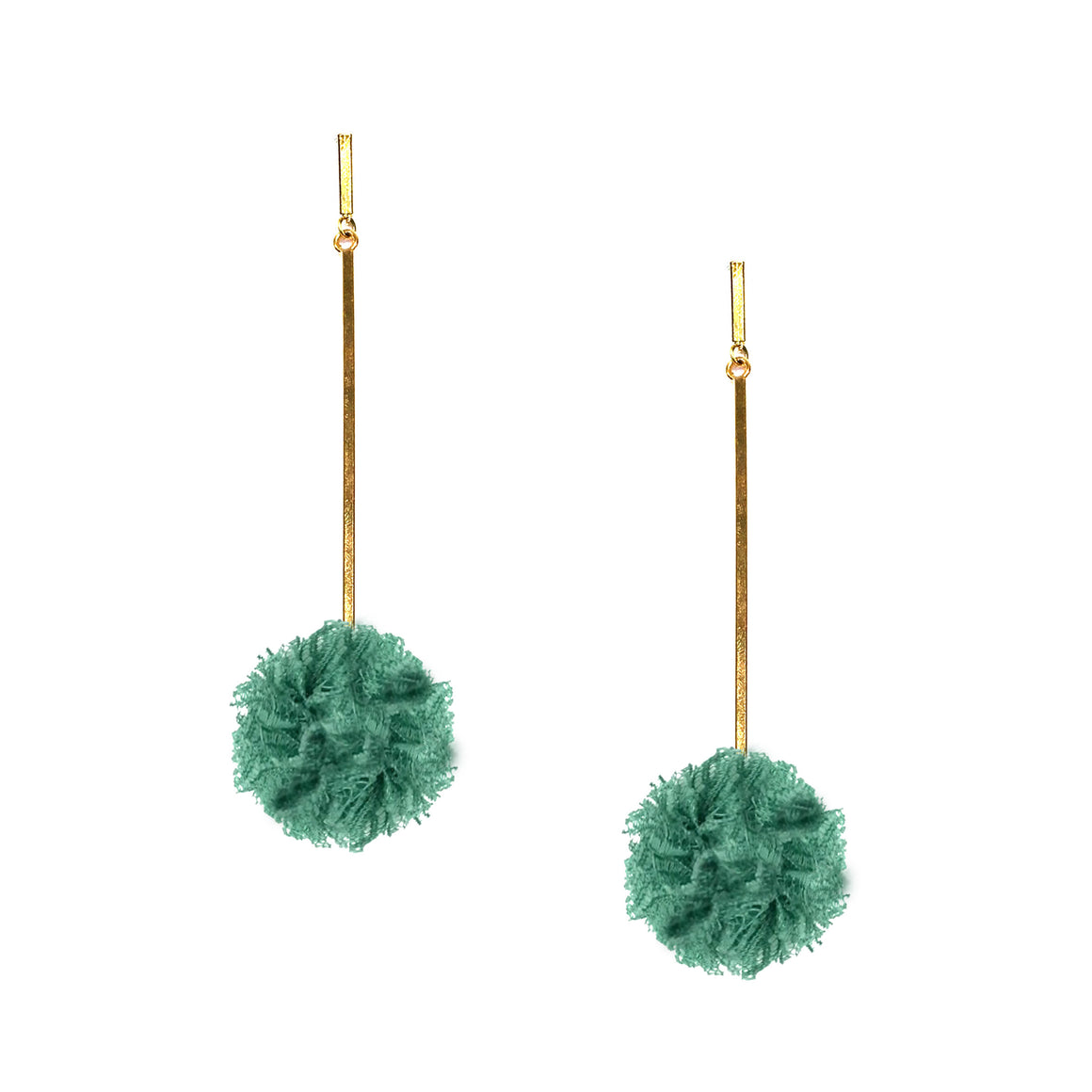"Green 1"" Lace Pom Pom Earrings, earring, Tuleste, Tuleste"