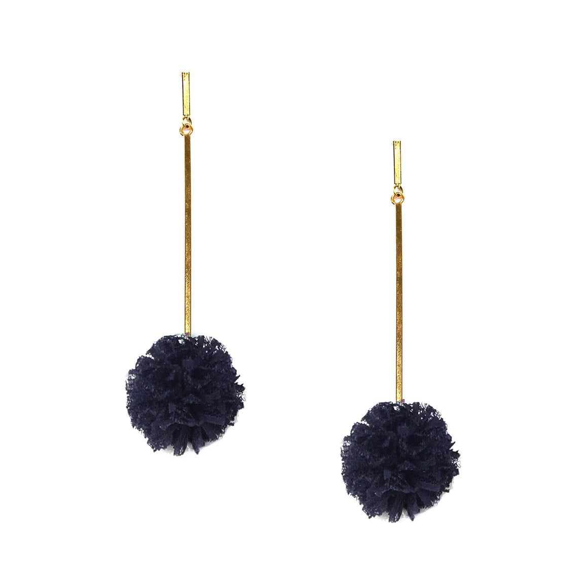 "Navy 1"" Lace Pom Pom Earrings, Earrings, Tuleste, Tuleste"