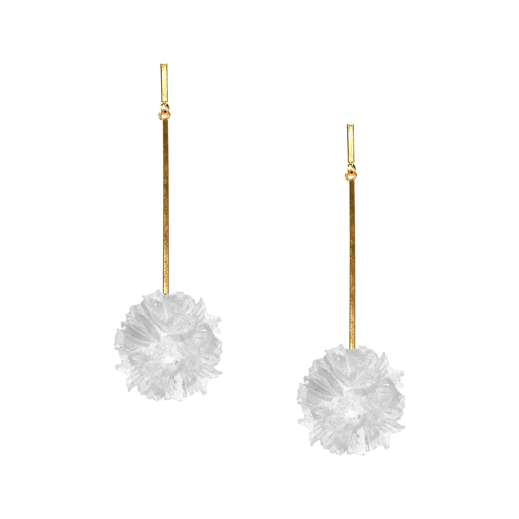 "White 1"" Lace Pom Pom Earring"