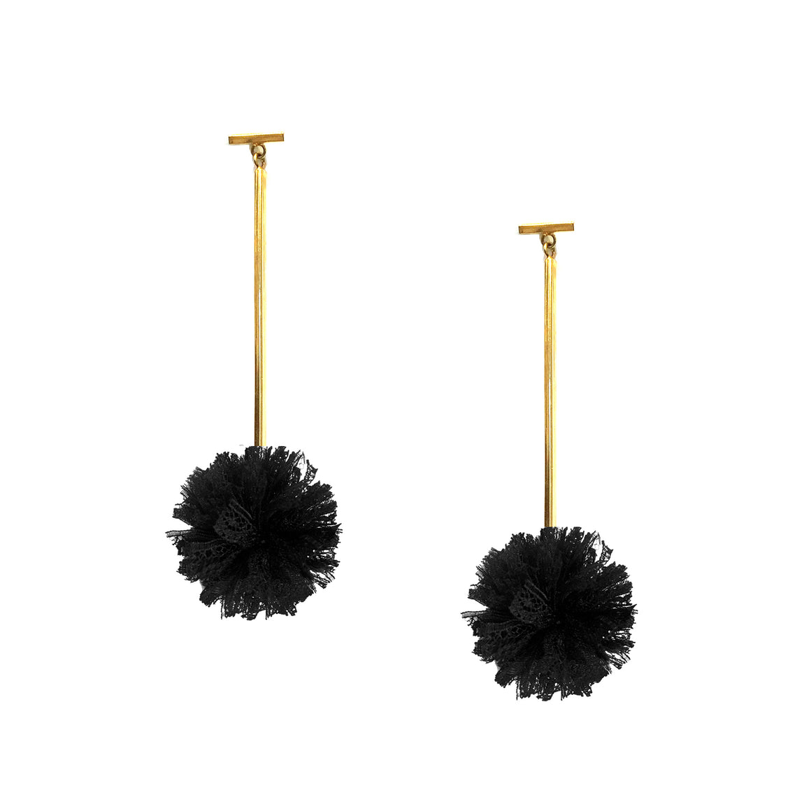 "Black 1"" Lace Pom Pom T Bar Earrings, earring, Tuleste, Tuleste"