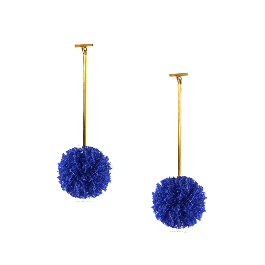 "Cobalt Blue 1"" Lace Pom Pom T Bar Earrings, Earring, Tuleste, Tuleste"