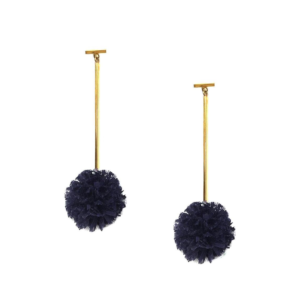 "Navy 1"" Lace Pom Pom T Bar Earrings, earring, Tuleste, Tuleste"