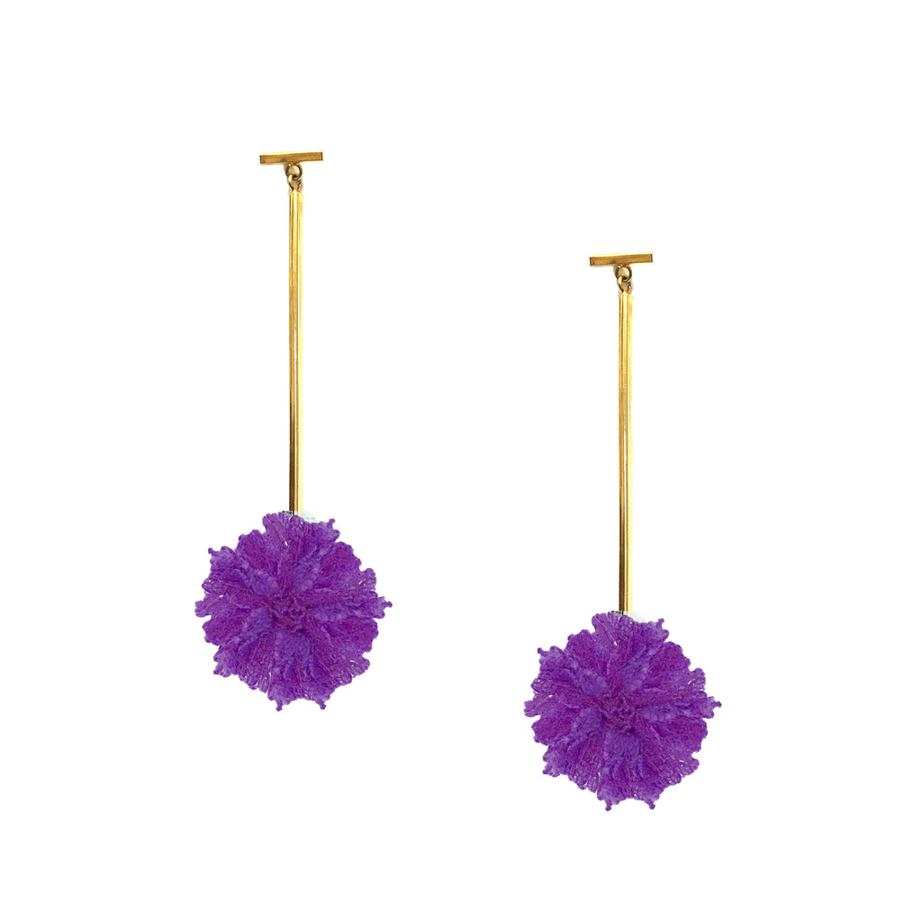 "Purple 1"" Lace Pom Pom T Bar Earring"
