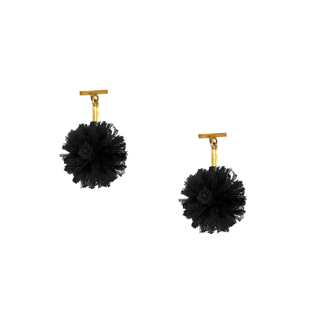 "Black 1"" Lace Pom Pom T Stud Earrings, earring, Tuleste, Tuleste"