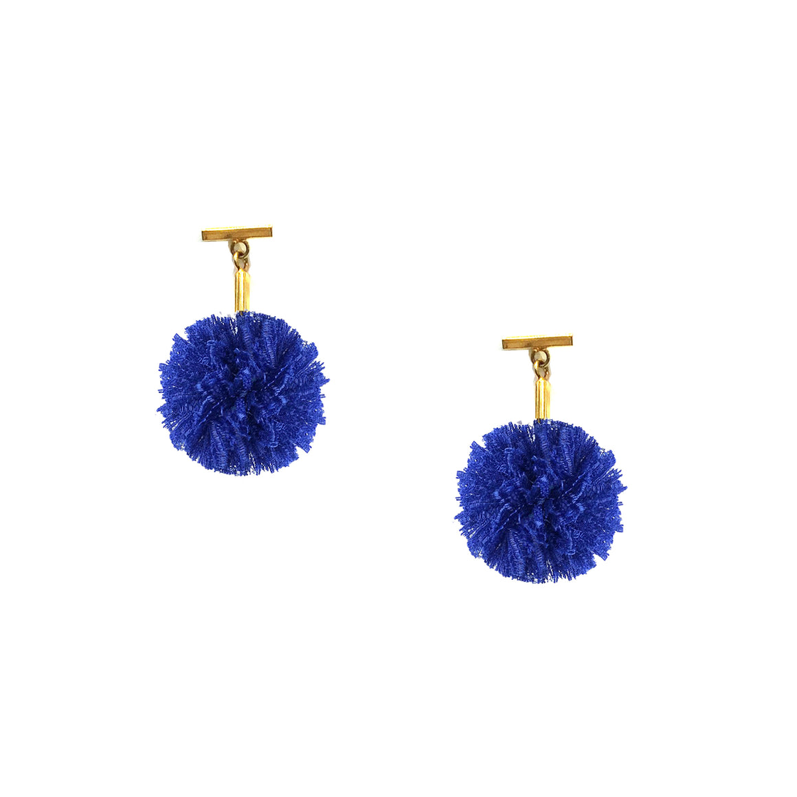 "Cobalt Blue 1"" Lace Pom Pom T Stud Earrings, earring, Tuleste, Tuleste"
