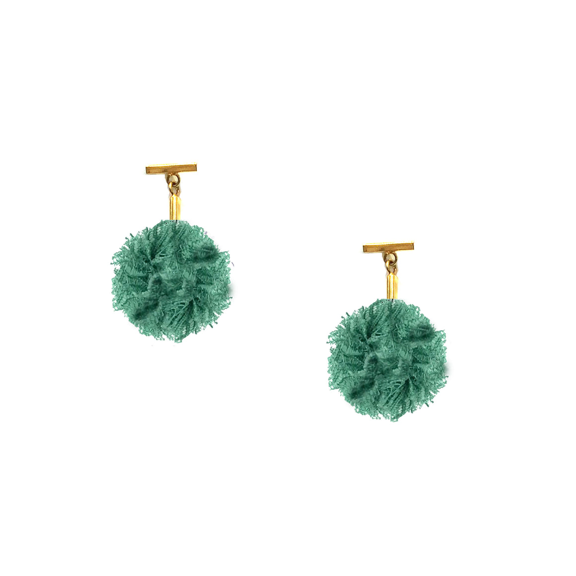 "Green 1"" Lace Pom Pom T Stud Earrings, earring, Tuleste, Tuleste"