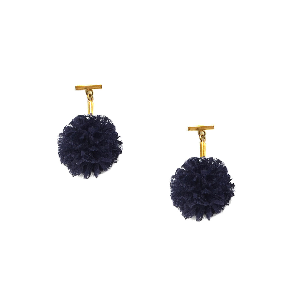 "Navy 1"" Lace Pom Pom T Stud Earrings, earring, Tuleste, Tuleste"