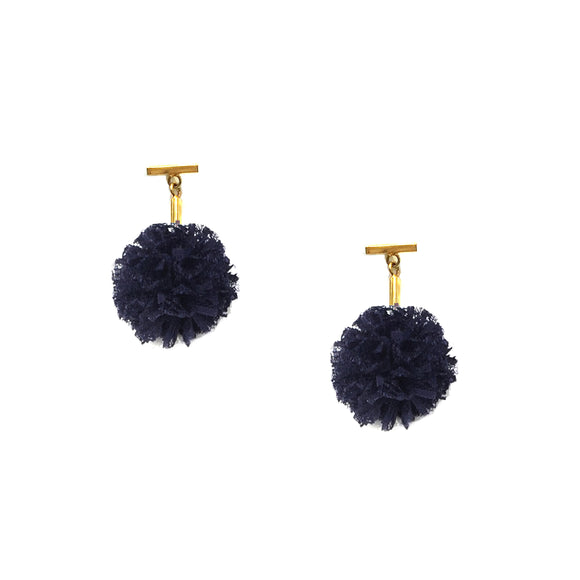 "Navy 1"" Lace Pom Pom T Stud Earrings, Earrings, Tuleste, Tuleste"
