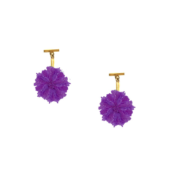 "Purple 1"" Lace Pom Pom T Stud Earring"