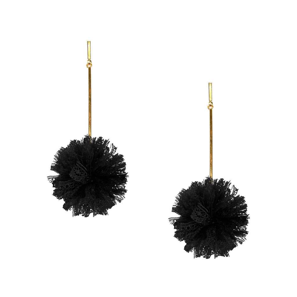 "Black 2"" Lace Pom Pom Earrings, Earrings, Tuleste, Tuleste"
