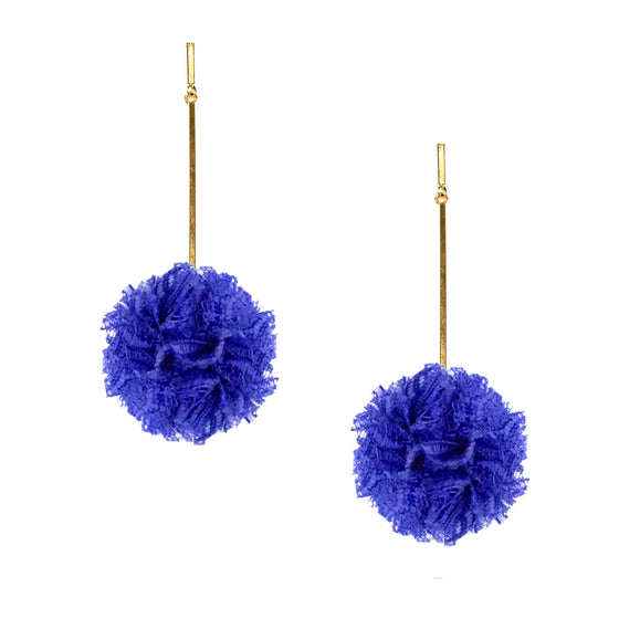 "Cobalt 2"" Lace Pom Pom Earrings, Earring, Tuleste, Tuleste"