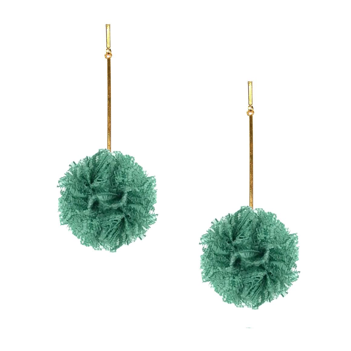 "Green 2"" Lace Pom Pom Earrings, earring, Tuleste, Tuleste"