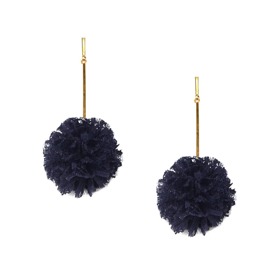 "Navy 2"" Lace Pom Pom Earrings, Earrings, Tuleste, Tuleste"