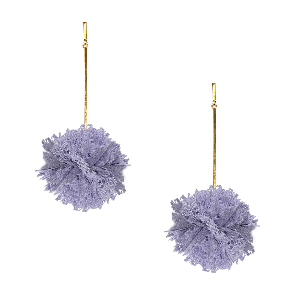 "Lavender 2"" Lace Pom Pom Earring"