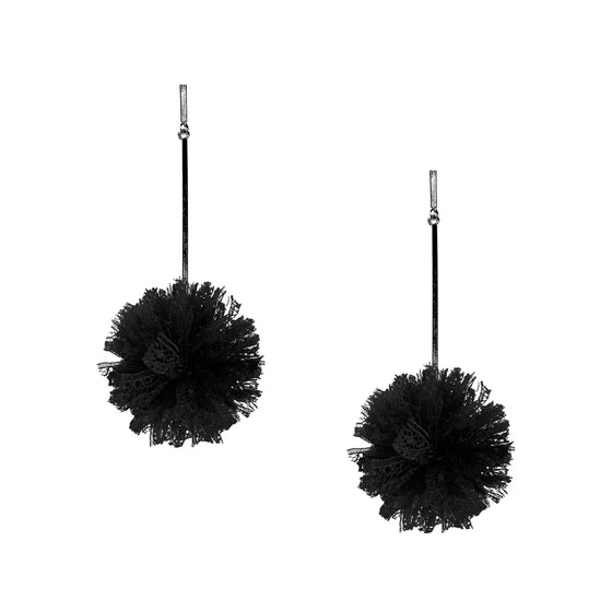 "Black 2"" Lace Pom Pom Earrings, earring, Tuleste, Tuleste"