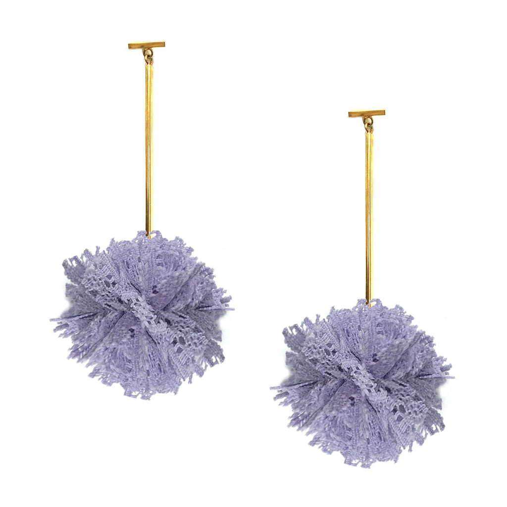 "Lavender 2"" Lace Pom Pom T Bar Earring"