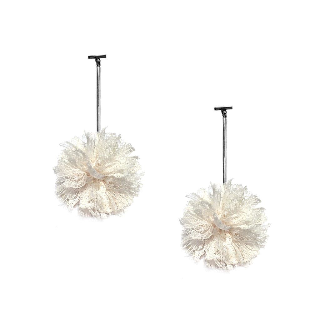 "White 2"" Lace Pom Pom T Bar Earrings"