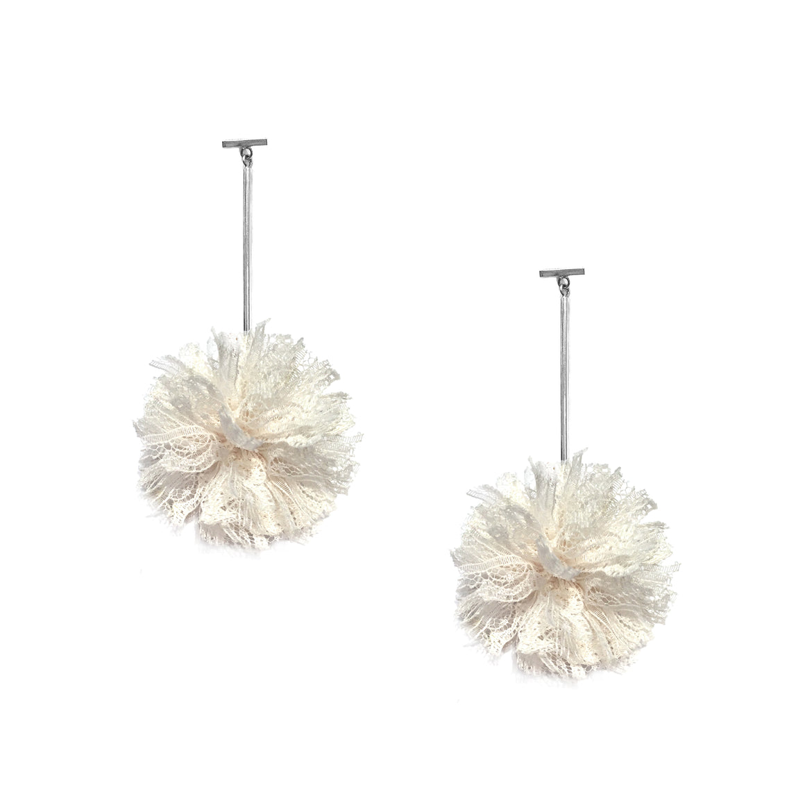 "White 2"" Lace Pom Pom T Bar Earrings, earring, Tuleste, Tuleste"
