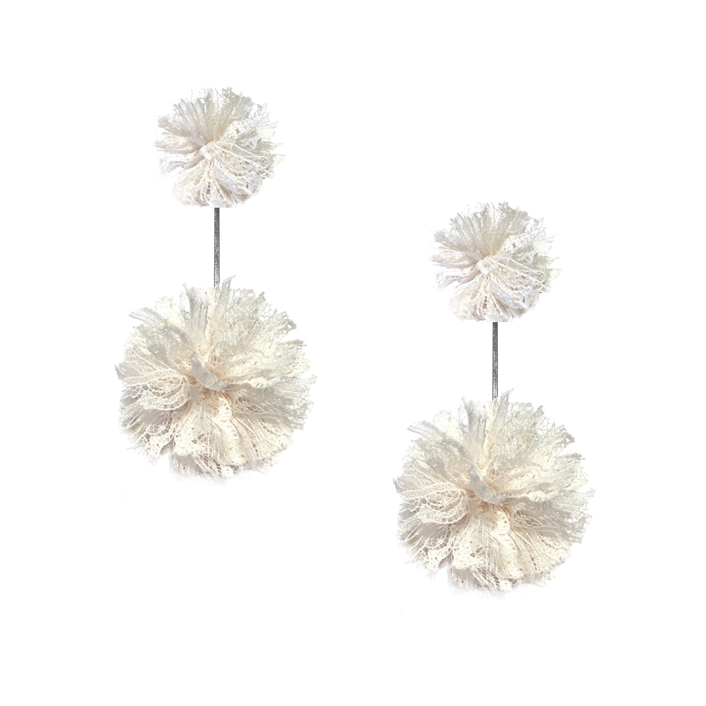 White Lace Pom Pom Double Earring