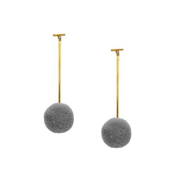 "Grey 3/4"" Velvet Pom Pom T Bar Earrings, earring, Tuleste, Tuleste"