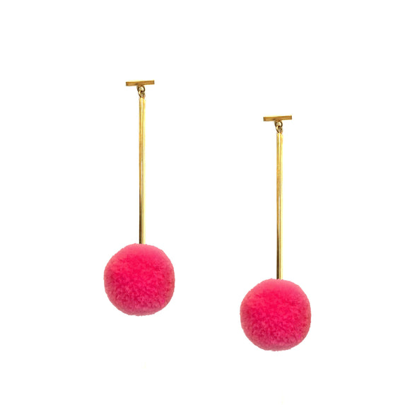 "Hot Pink 3/4"" Velvet Pom Pom T Bar Earrings, earring, Tuleste, Tuleste"