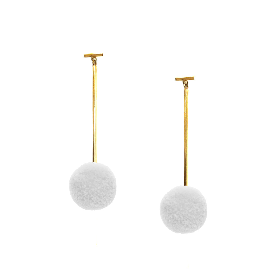 "White 3/4"" Velvet Pom Pom T Bar Earring"