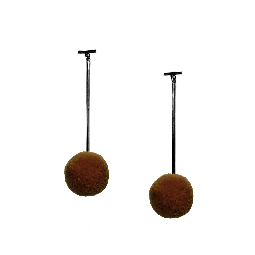 "Brown 3/4"" Velvet Pom Pom T Bar Earrings, Earring, Tuleste, Tuleste"