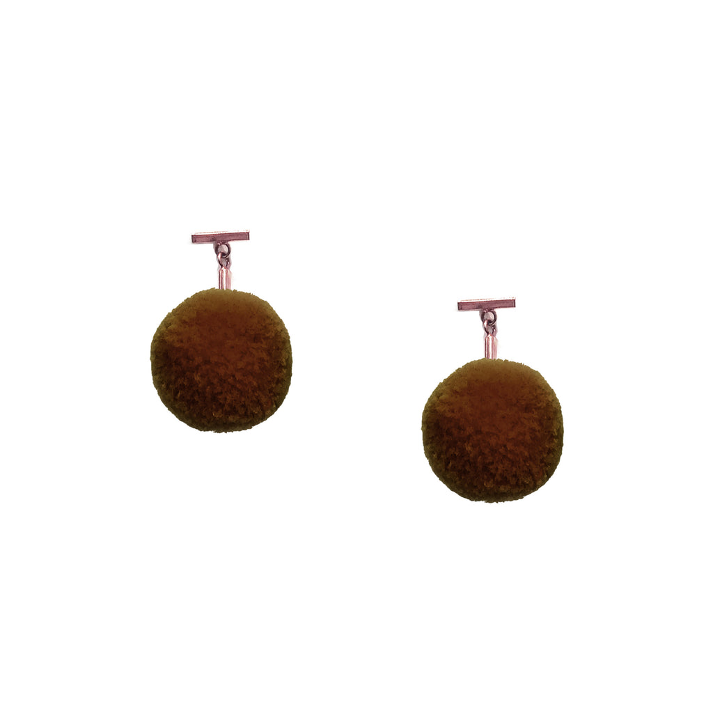 "Brown 3/4"" Velvet Pom Pom T Stud Earring"