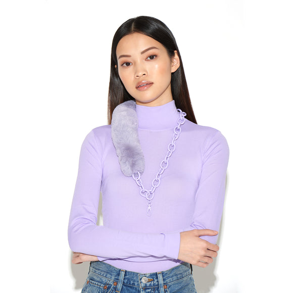 RIANNE | Lilac Faux Fur & Chain Lanyard, Lanyards, Tuleste, Tuleste