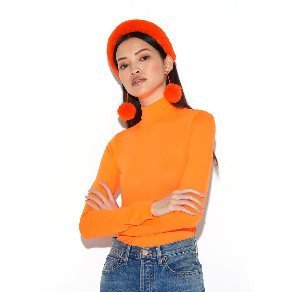 "SATU | Neon Orange 2"" Faux Fur T Bar Pom Pom Earrings, Earrings, Tuleste, Tuleste"