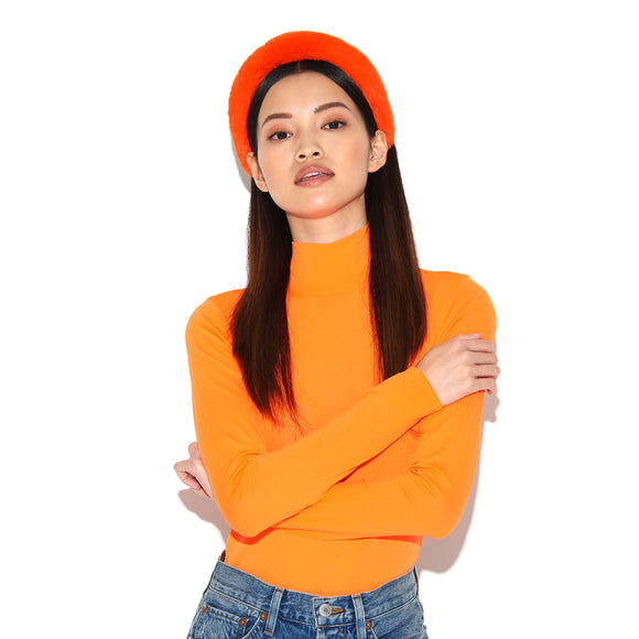 CELESTE | Neon Orange Faux Fur Headband, Hair, Tuleste, Tuleste