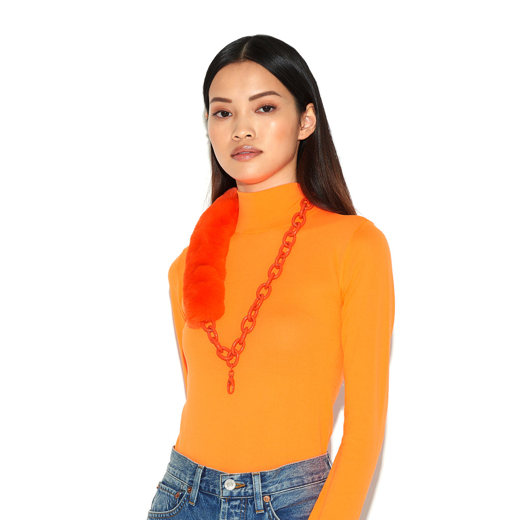 RIANNE | Neon Orange Faux Fur & Chain Lanyard, Lanyards, Tuleste, Tuleste