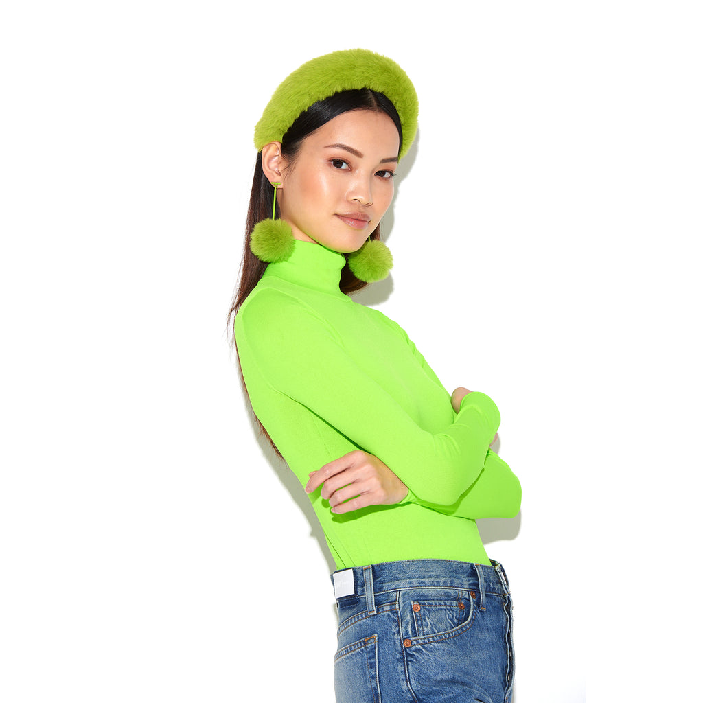 "SATU | Neon Green 2"" Faux Fur T Bar Pom Pom Earrings"
